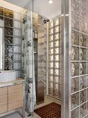 Glass block shower in modern home