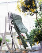 Assorted folding chairs and a small tree with yellow flowers in a pot