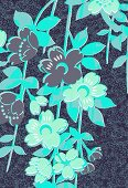 Blue tropical flowers (print)