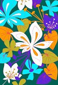 Tropical flowers on green background (print)