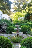 Paved area with stepped stone fountain surrounded by box balls amongst lushly planted shrubbery