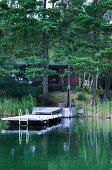 Idyllic lake house amongst tall pines