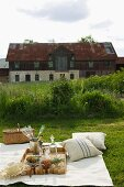 A classy picnic with champagne on a mown meadow outside an old farmhouse
