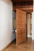 Concealed sink and mirror behind wall partition in Goan beach house, India