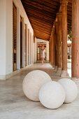 Claudia Ajwani (former model and muse to Thierry Mugler) walks in the veranda of her Goan beach house retreat