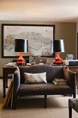 Study with early 19th century map of Sussex in home of fabric designer Richard Smith