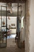 View into Provençal kitchen of restored country house