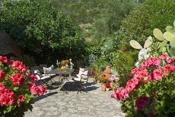 Chairs and table on sunny terrace with stone paving in blooming Mediterranean garden