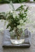 Posy of rosemary, thyme, cow parsley and bay leaves
