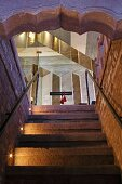 Stairs leading to glass door in Raas Haveli Hotel, Jodhpur, India
