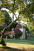 Blick vom Hang auf renoviertes Bauernhaus an einem sonnigen Tag