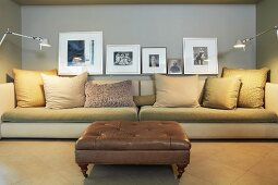 Leather coffee table and sofa with cushions