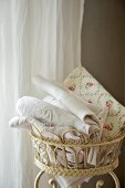 Vintage fabrics in old ornate plant stand