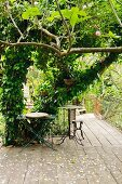 Vintage metal table on wooden terrace in garden with dense vegetation