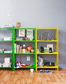 Simple, half-height shelving jazzed up with bright, retro colours