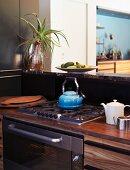 Gas hob in open-plan kitchen