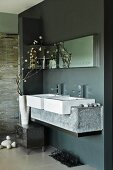Designer bathroom - washstand with twin basins and stone base in niche painted dark grey
