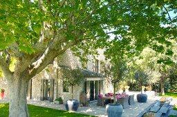 Essplatz mit Korbsesseln und Olivenbäumen in Töpfen auf grosszügiger Terrasse vor mediterranem Steinhaus