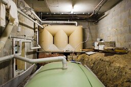 Pipe system for water recycling in the utility room of an eco home