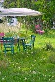 Gedeckter Tisch im Garten unter einem Sonnensegel