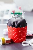 Pin cushion in paper cake case