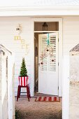 Festively decorated front door
