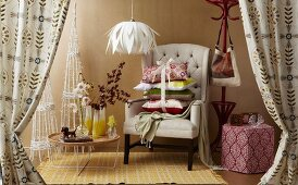Christmas gifts for the living room: cushions, ornaments, curtains, pendant lamp, armchair