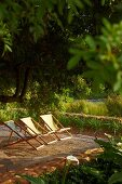 Deckchairs with fabric seats on wooden deck in garden in evening sun