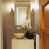 Orchid on stone washstand with modern, wall-mounted tap fitting