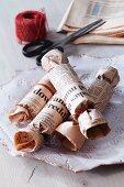 Home-made newspaper crackers