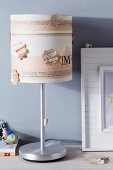 Lampshade decorated with newspaper