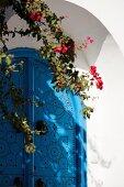 House entrance with blue door (Sidi Bou Said, Tunisia)