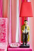 Chinese figurine as base of lamp on pink velvet pouffe combined with striped, silk taffeta curtains and printed linen chair upholstery
