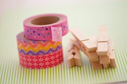 Pile of decorative masking tapes and washing clips