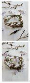 Making a wreath of alder catkins and hyacinth florets