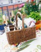 A basket with garden utensils