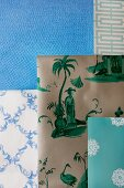 Wallpapers in blue and green patterns