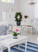Swedish-style, blue & white interior