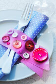 Napkin ring decorated with buttons
