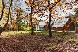 View of modern architect-designed house with lawns from edge of autumn woodland