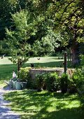 Free-range hens on summery lawn and well in nostalgic garden setting