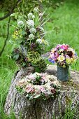 Decorative flower arrangement from a cottage garden