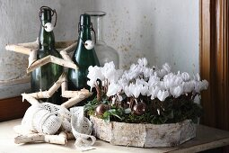 Hand-crafted birch bark wreath with white cyclamen, birch bark star and vintage bottles