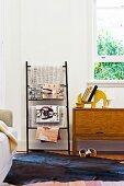 Ladder-shaped magazine rack in living room