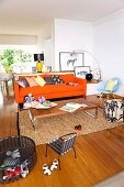 Open living room with a colorful mix of styles