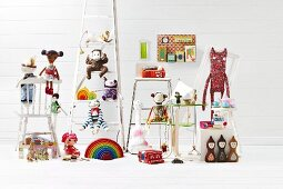 Toys on assorted pieces of furniture
