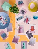Postcards of occasional furniture and bowls on pastel surface