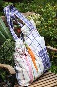 Hand-sewn cloth bag with appliqu