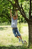 Boy with hand-sewn animal motif on T-shirt swinging from branch of tree in garden