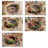 Tying a wreath of spirea twigs and rosehips